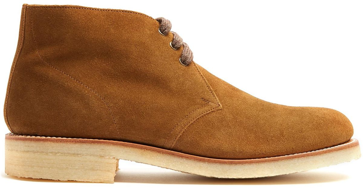 db2de5c379d226 Grenson Oscar Suede Desert Boots in Brown for Men - Lyst