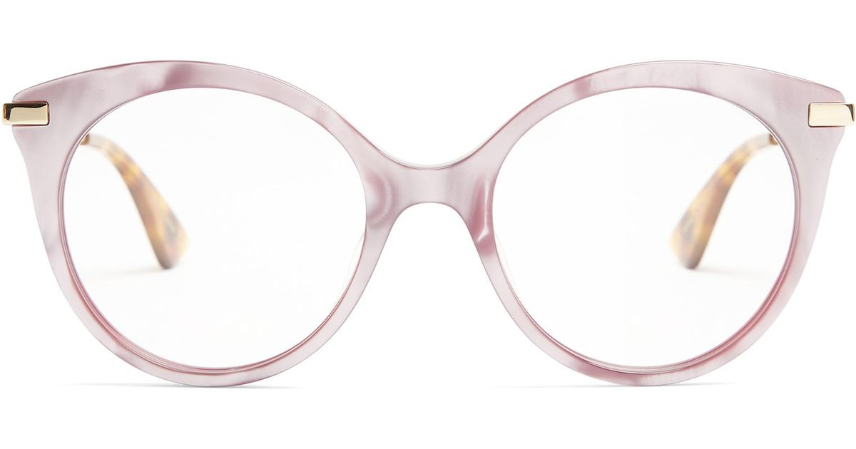 Lyst Gucci Round Frame Mother Of Pearl Acetate Glasses In Pink