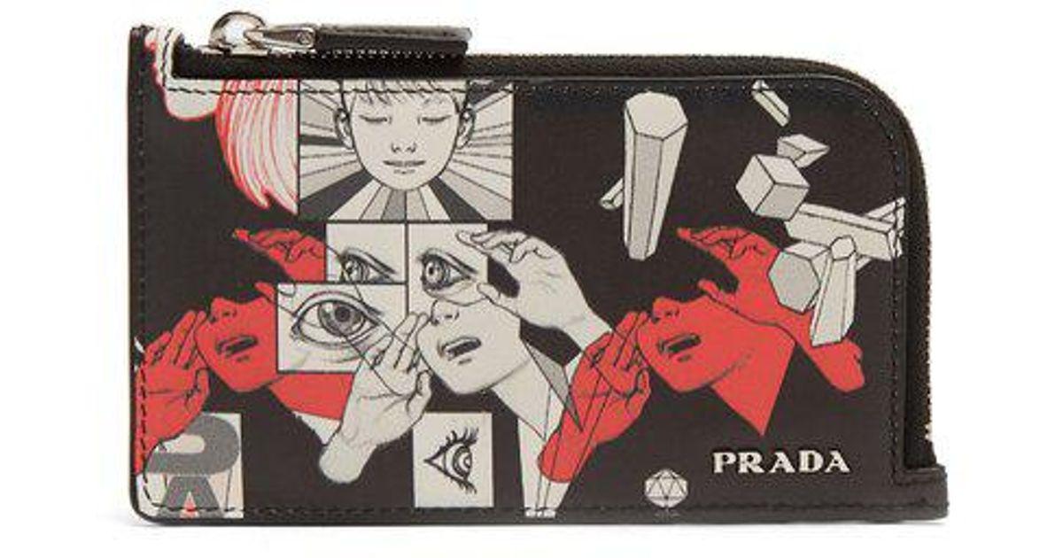 ff067f2420cc66 Prada Saffiano-leather Comic-strip Cardholder in Black - Lyst