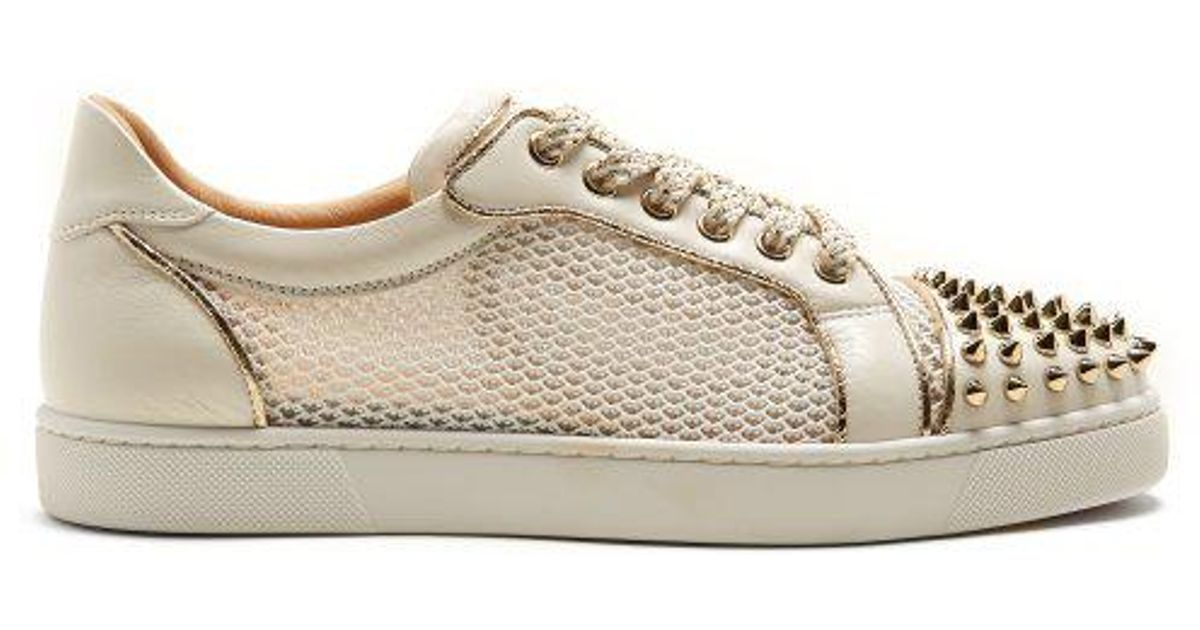 3682165d6b27 Christian Louboutin Ac Vieira Spike-embellished Leather Trainers in White -  Lyst