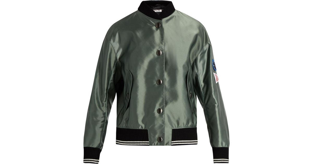 Miu miu sleeve appliqué bomber jacket in green lyst