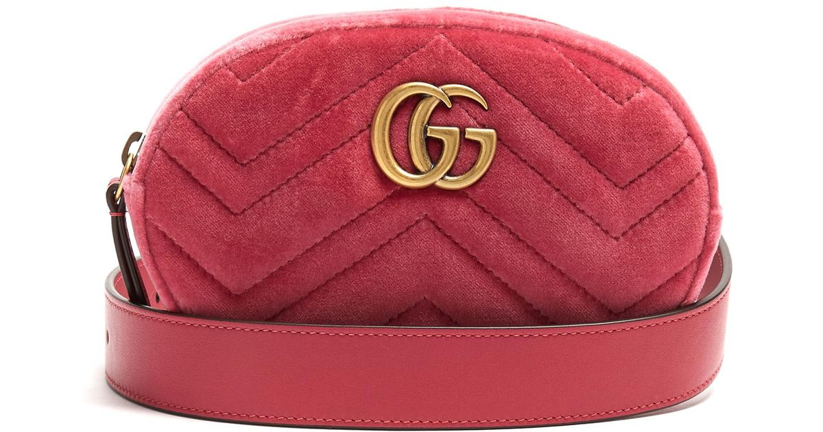 Gucci Gg Marmont Quilted-velvet Belt Bag in Pink - Lyst