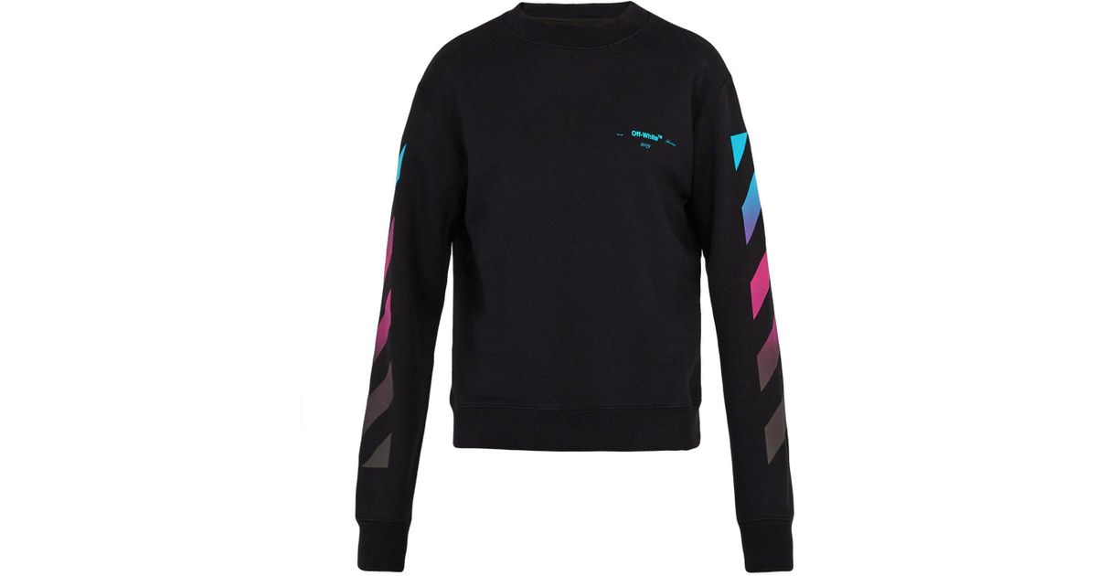 20bf67883728 Lyst - Off-White c o Virgil Abloh Diagonal Gradient Print Cotton-jersey  Sweatshirt in Black for Men