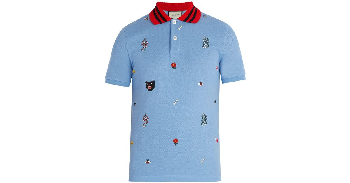9d480bc0 Gucci Embroidered Cotton Polo Shirt in Blue for Men - Lyst