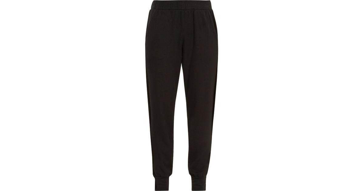2fa2739a97e63 Lyst - Velvet By Graham   Spencer Bexley Velvet-panel Tapered-leg Jersey  Trousers in Black