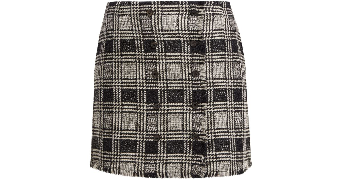 5b2992bf424b Thom Browne Prince Of Wales Check Wool-blend Tweed Skirt in Black - Lyst