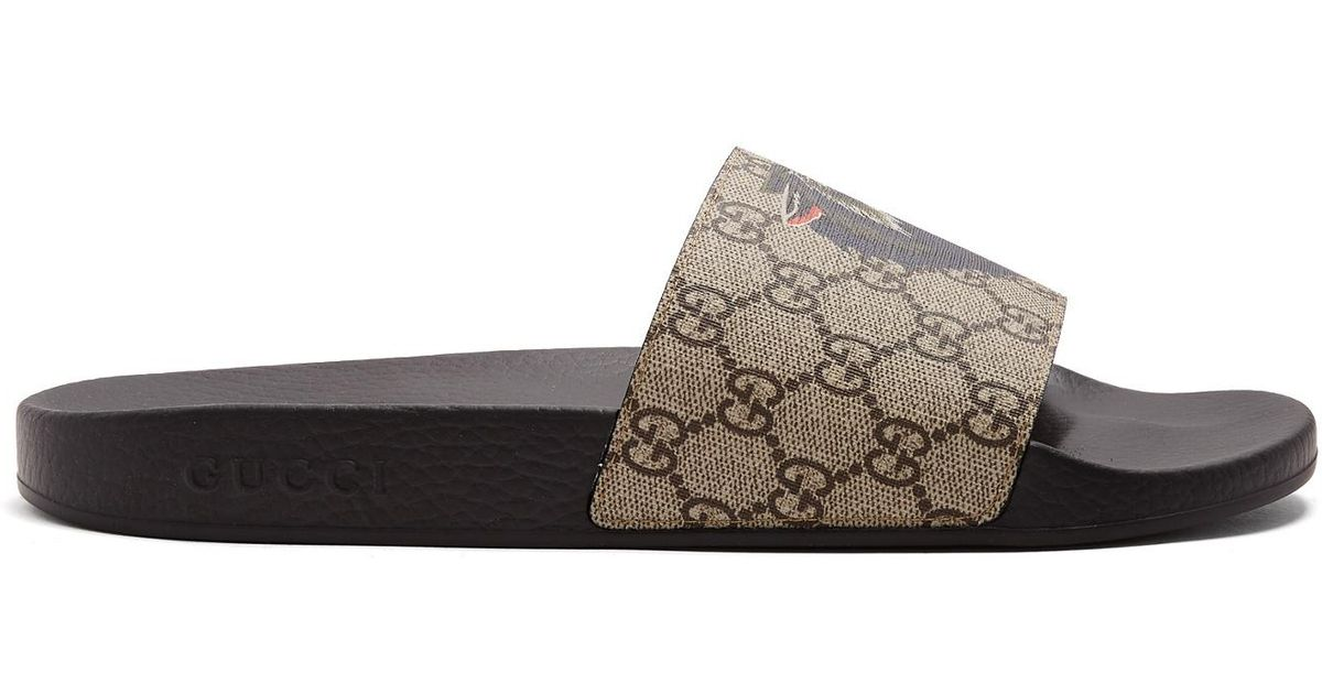 a8ea93cb9f7f Lyst - Gucci Wolf-print Gg Supreme Slides for Men