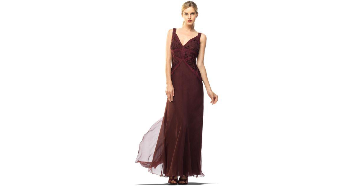 Lyst - Leon Max Silk Chiffon Evening Gown in Purple