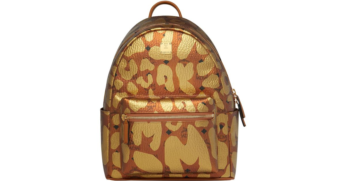 242ee23210d5 MCM Stark Leopard Print Backpack Small Cognac - Lyst