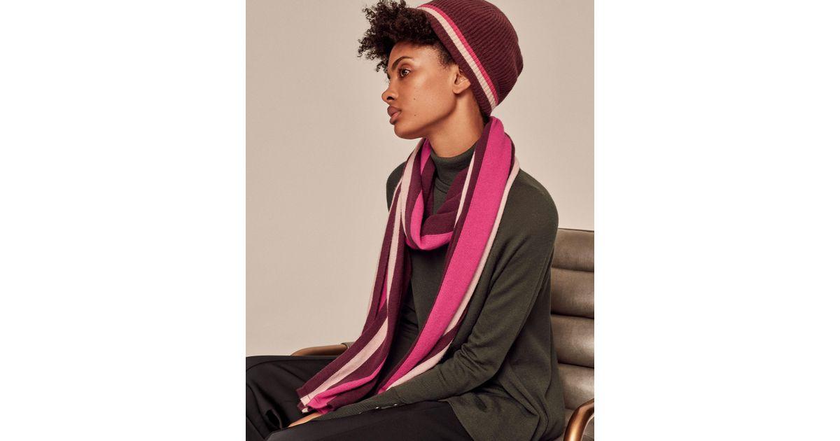 731415094b00d Me+Em Stripe Detail Cashmere Hat - Lyst
