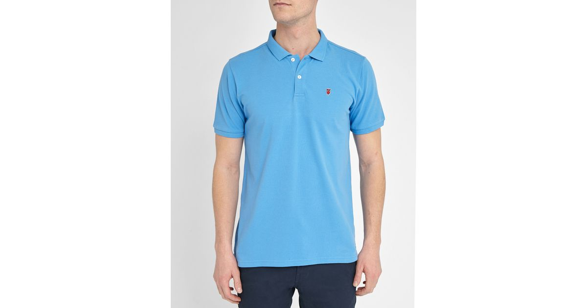 knowledge cotton apparel blue chouette cotton piqu polo shirt in blue for men lyst. Black Bedroom Furniture Sets. Home Design Ideas