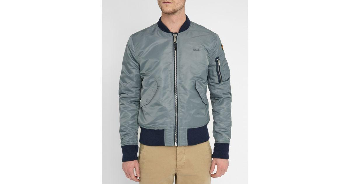 schott nyc grey ac bomber jacket in gray for men lyst. Black Bedroom Furniture Sets. Home Design Ideas
