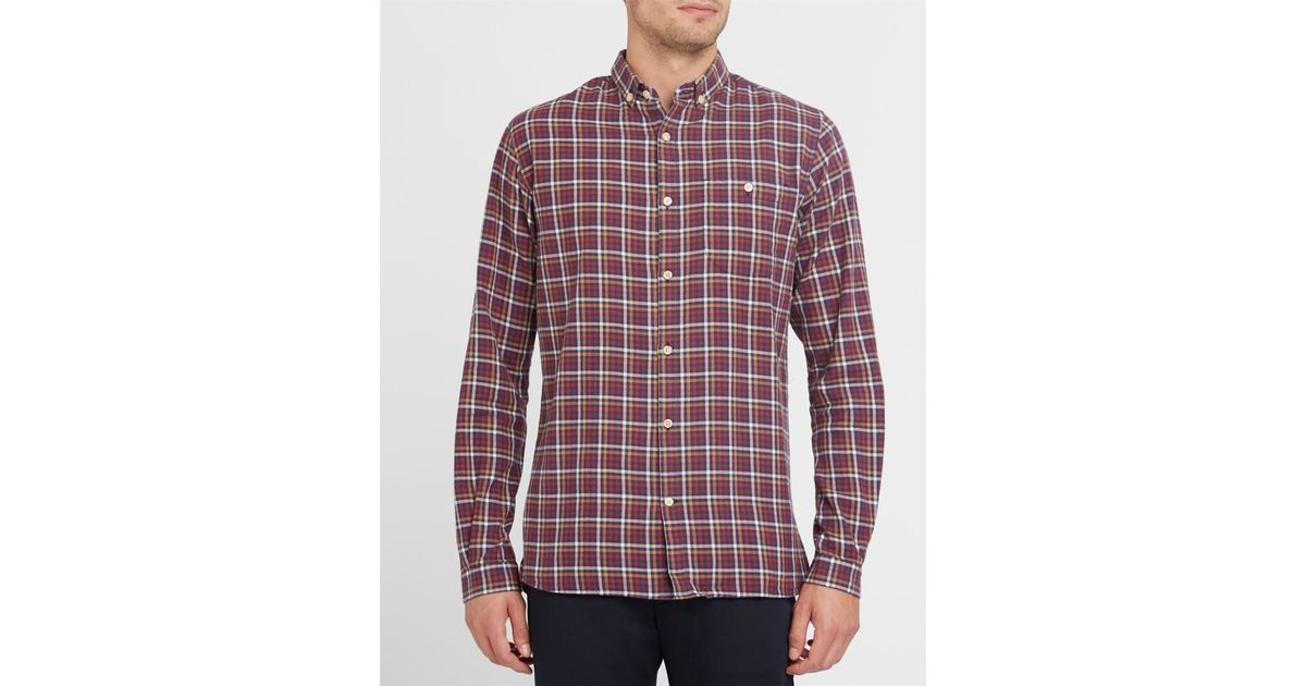 Knowledge cotton apparel burgundy organic cotton flannel for Organic cotton button down shirts
