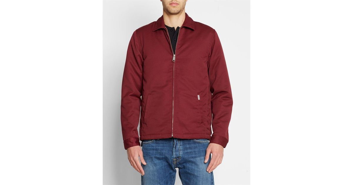 Carhartt wip burgundy denison modular washed jacket in for Carhartt burgundy t shirt