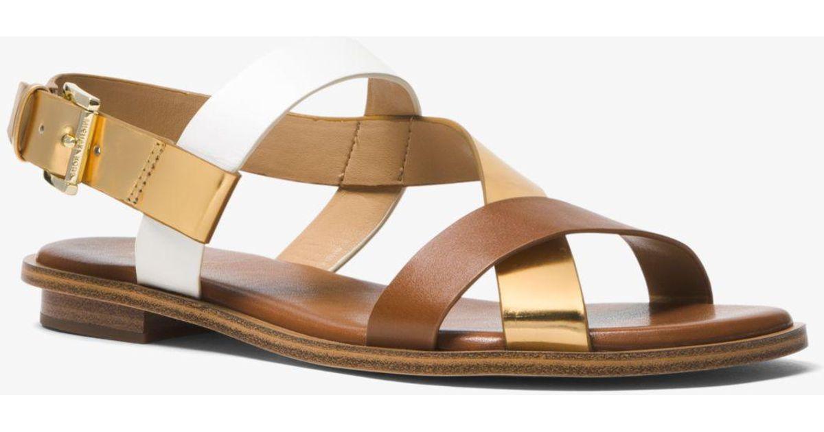 de66b18315 Michael Kors Mackay Color-block Leather Sandal - Lyst