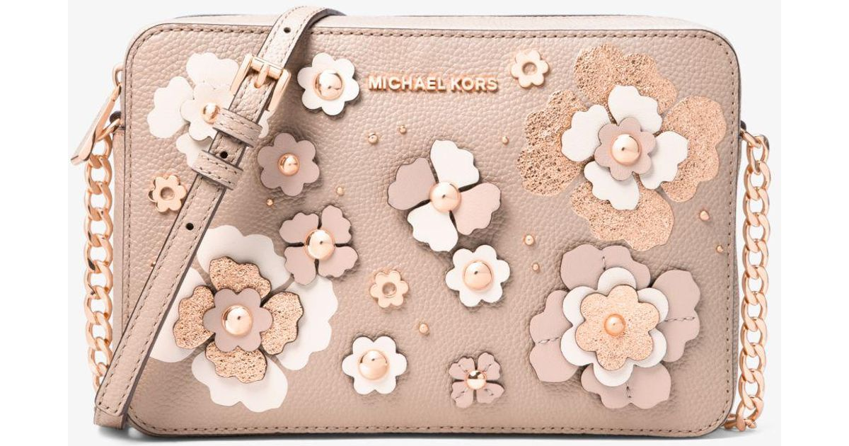 2287e718d51f Michael Kors Jet Set Floral Embellished Leather Crossbody Bag - Lyst