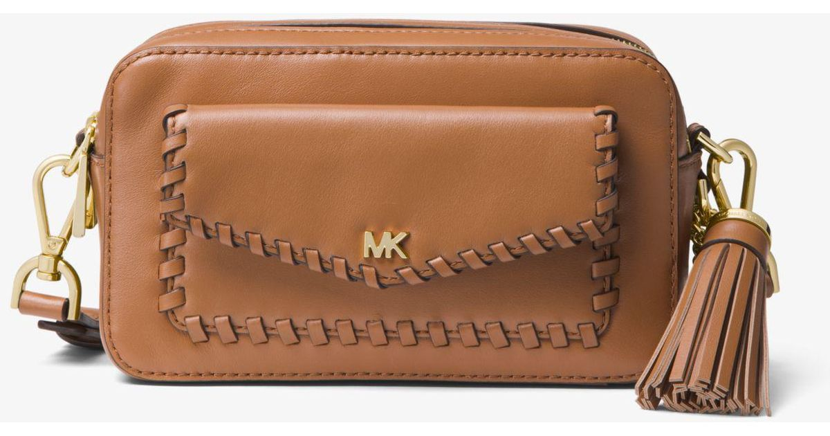 d195ce169063 Lyst - Michael Kors Small Whipstitched Leather Camera Bag in Brown