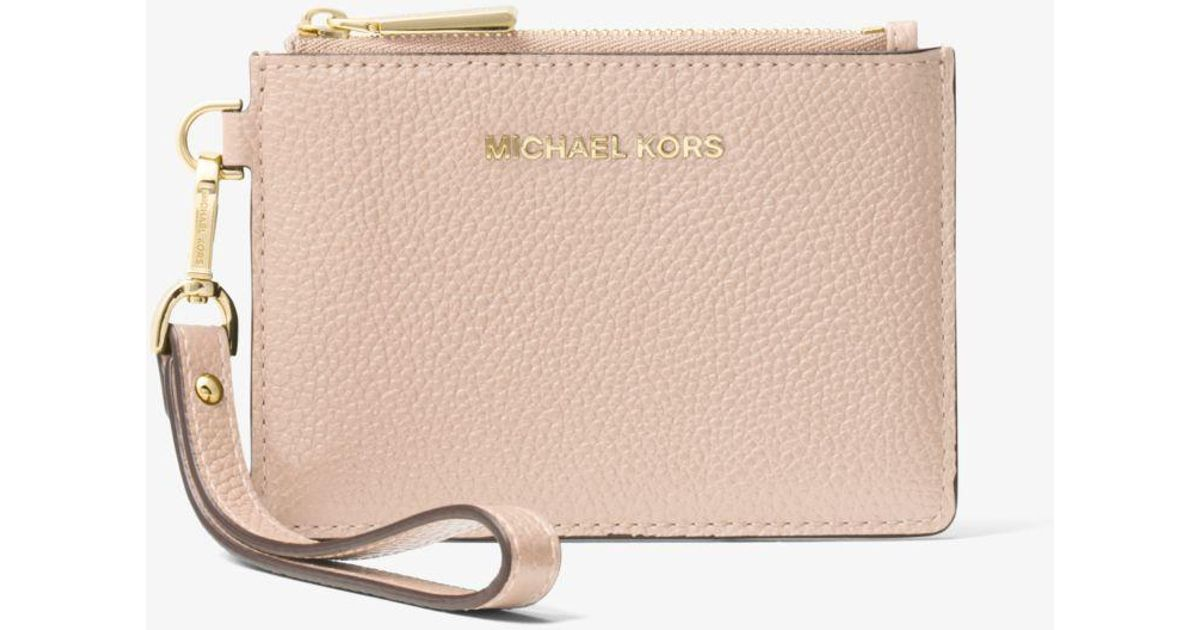 080f4f599fe388 Michael Kors Mercer Small Leather Coin Purse in Pink - Lyst