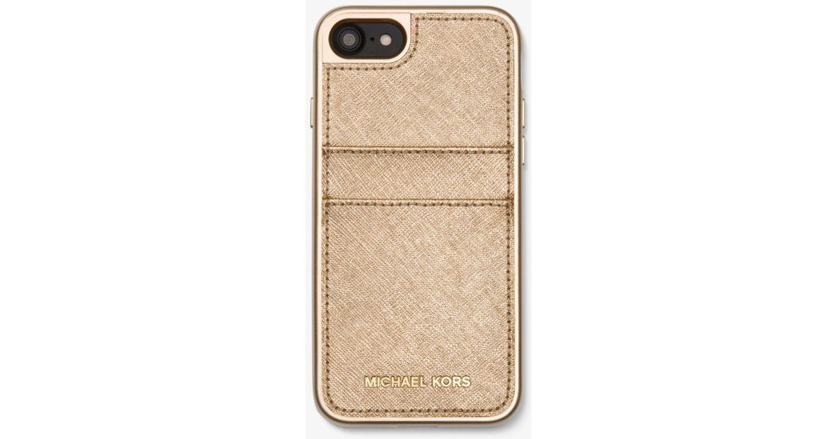 f3ef0fba70bb Lyst - Michael Kors Metallic Saffiano Leather Case For Iphone 7 8 in  Metallic