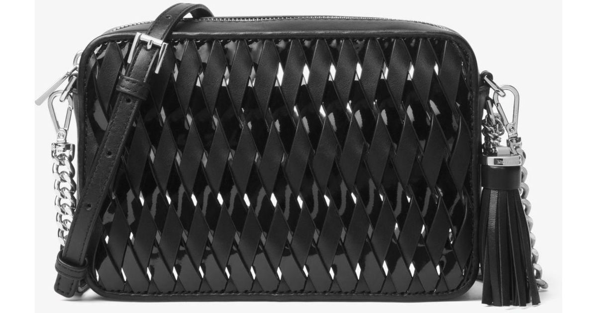 cce409cfd898 Michael Kors Ginny Woven Leather Crossbody in Black - Lyst