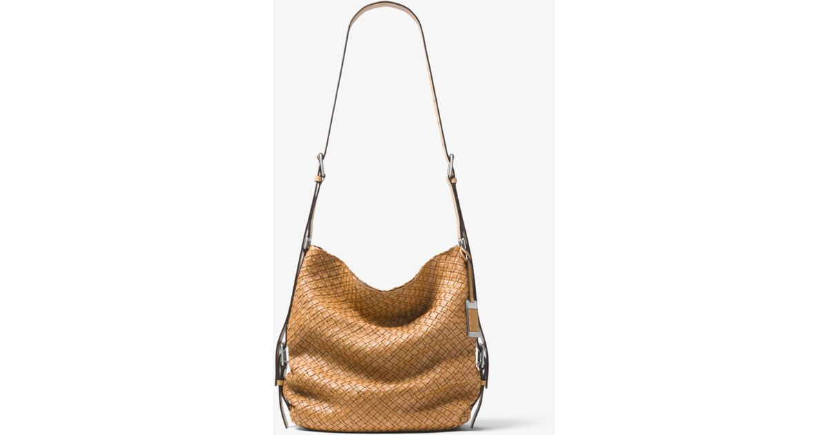 65194a226 ... cheap lyst michael kors naomi extra large woven leather shoulder bag in  brown 04731 50a09