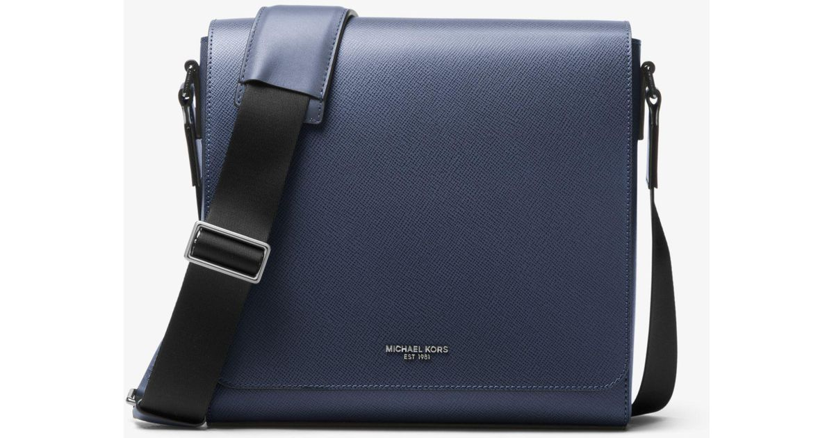 20e8a94132d9e Lyst - Michael Kors Harrison Medium Leather Messenger Bag in Blue for Men