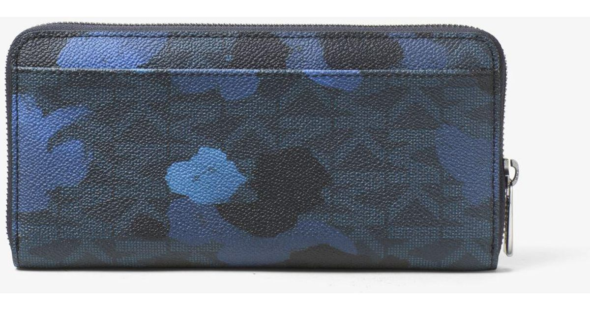 9b978ed132c560 Michael Kors Jet Set Painterly Camo Large Zip-around Wallet in Blue for Men  - Lyst