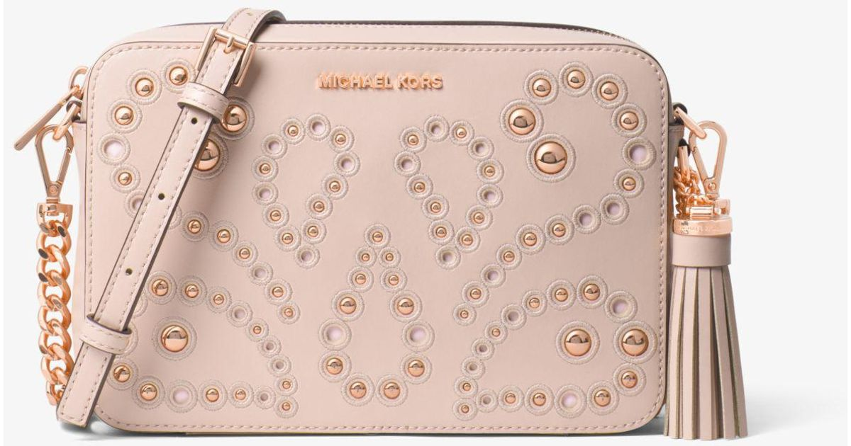 0137ae1f73fd Michael Kors Ginny Medium Embellished Leather Crossbody in Pink - Lyst