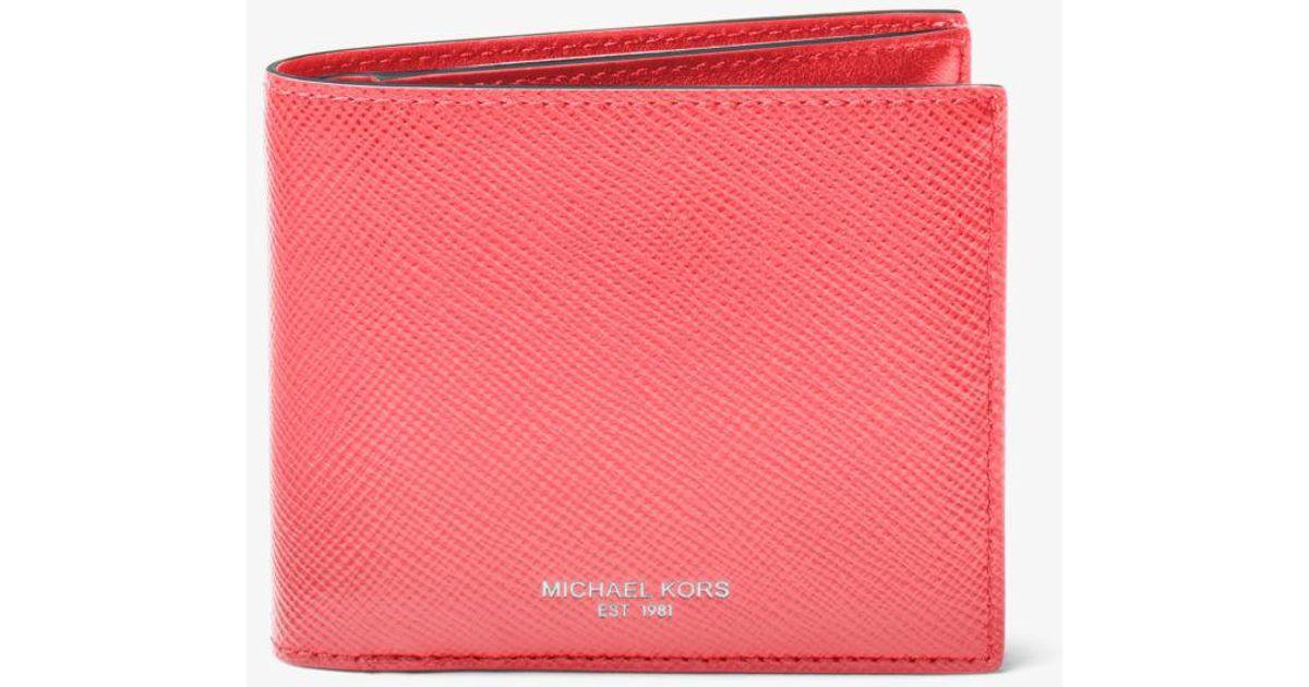c48c75a75f6f Lyst - Michael Kors Harrison Leather Id Billfold Wallet in Pink for Men
