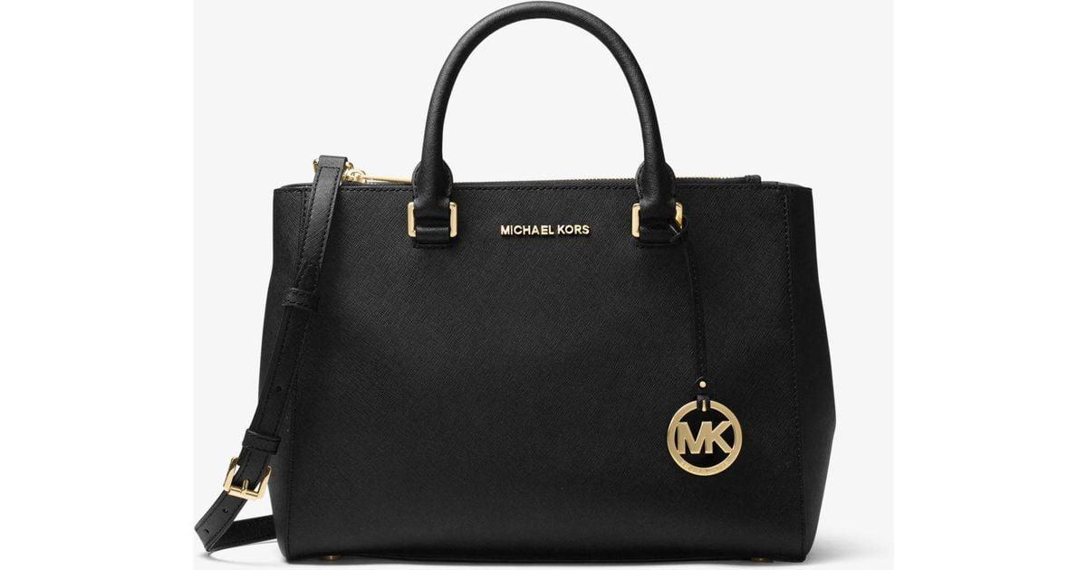 879224c5ade3 ... low price michael kors kellen saffiano leather satchel in black lyst  f1410 006d1