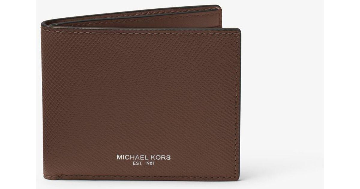 f9fb2a01f630 Lyst - Michael Kors Harrison Leather Slim Billfold Wallet in Brown for Men