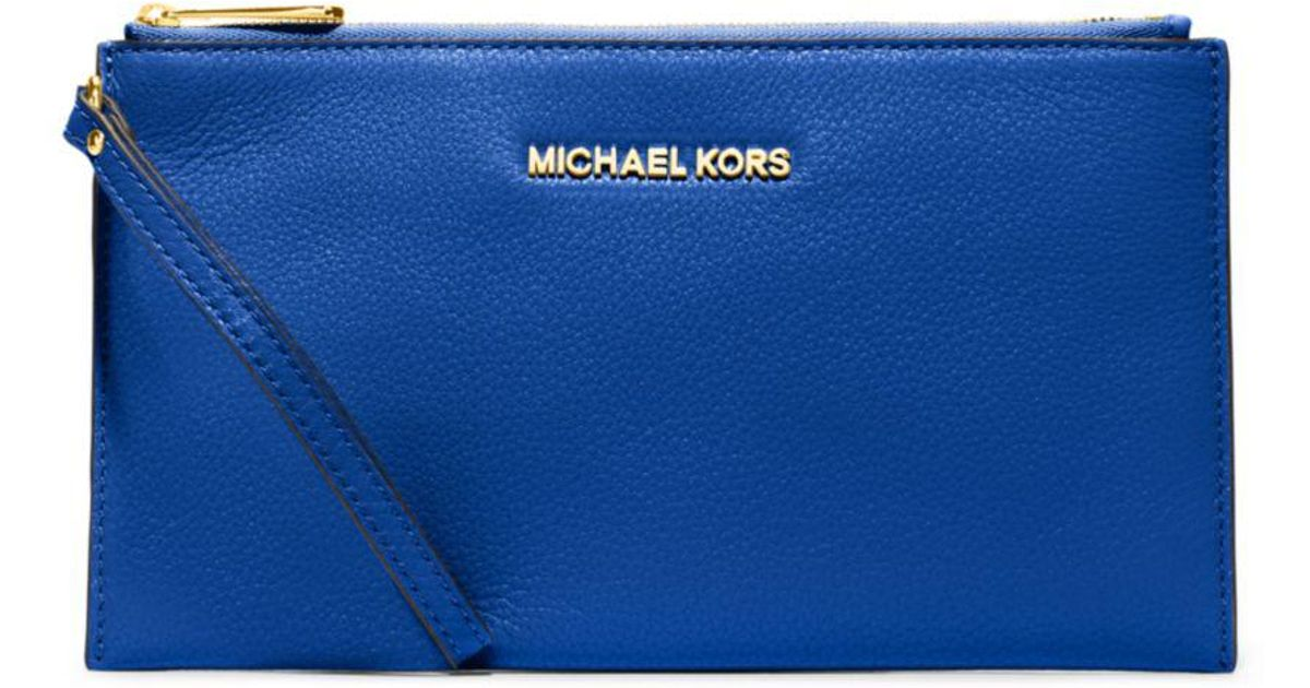 ... closeout lyst michael kors bedford large leather zip wristlet in blue  a8736 8b8f9 c0bac12cc97f0