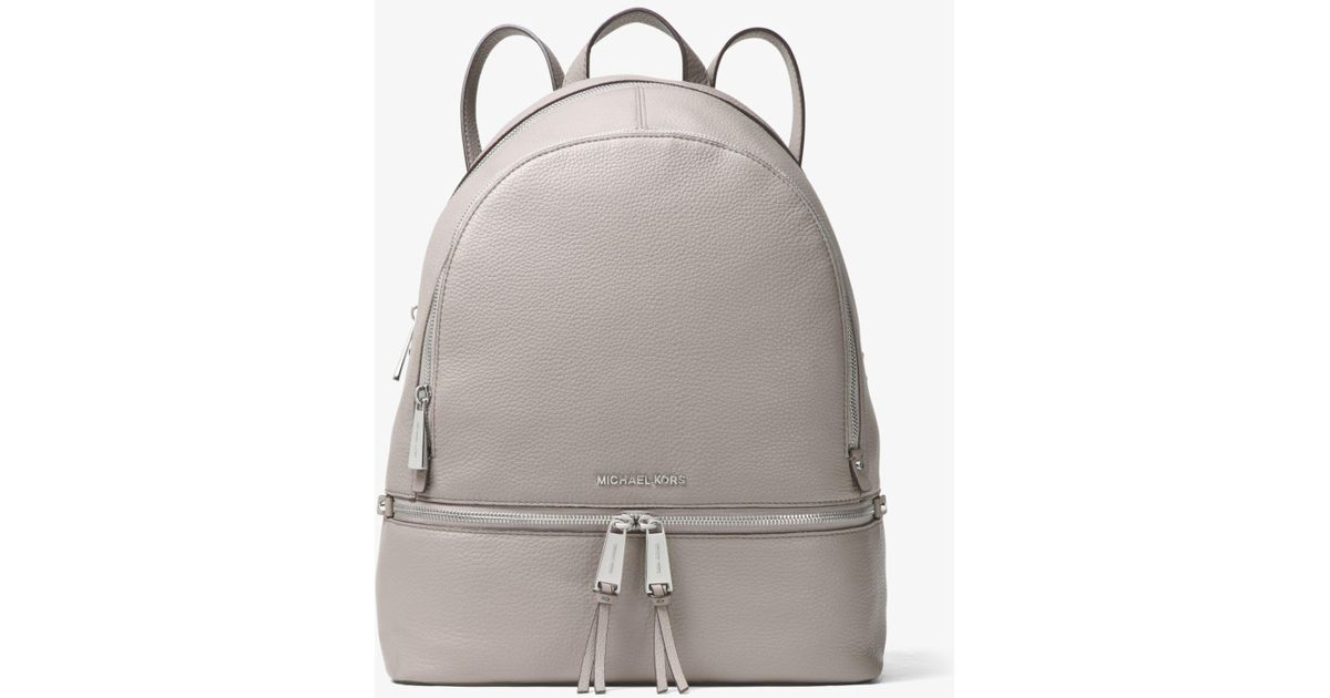 9f83185f2607 Lyst - Michael Kors Rhea Large Leather Backpack in Gray