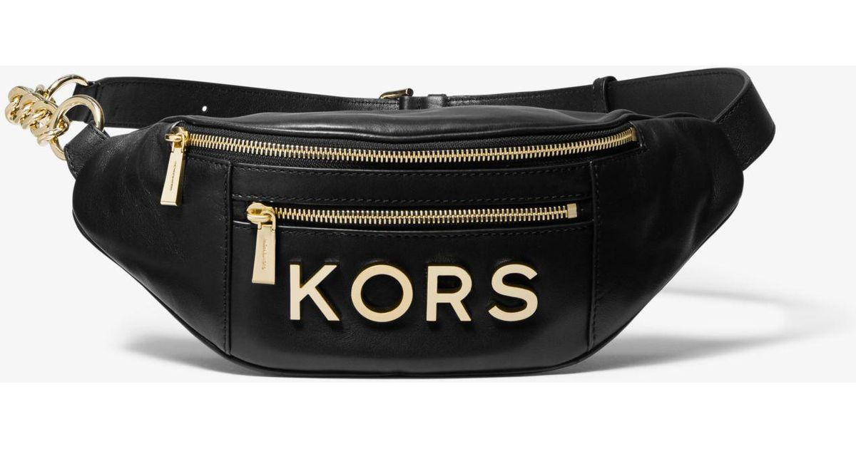 b1576bd8818b ... low cost lyst michael kors belt bag with metal logo in black save  19.40298507462687 54960 a2057