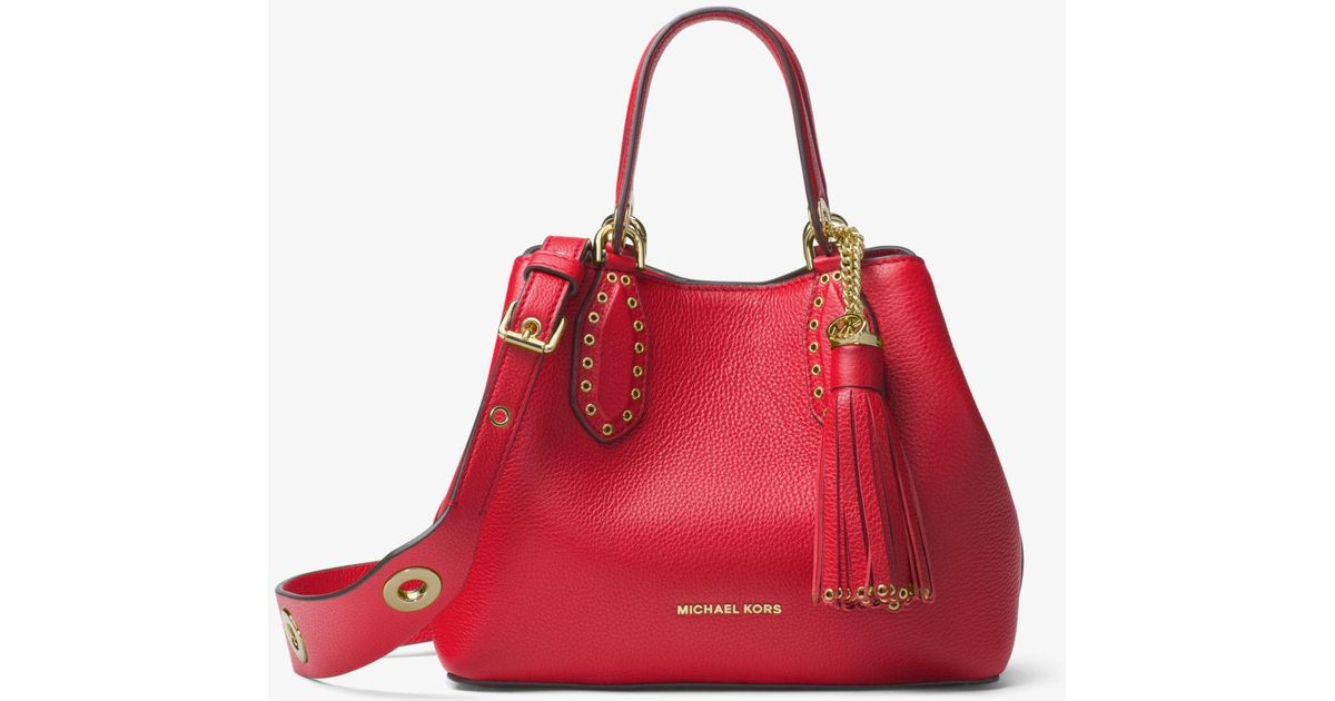 8f031ffd415c Michael Kors - Red Brooklyn Small Leather Satchel - Lyst