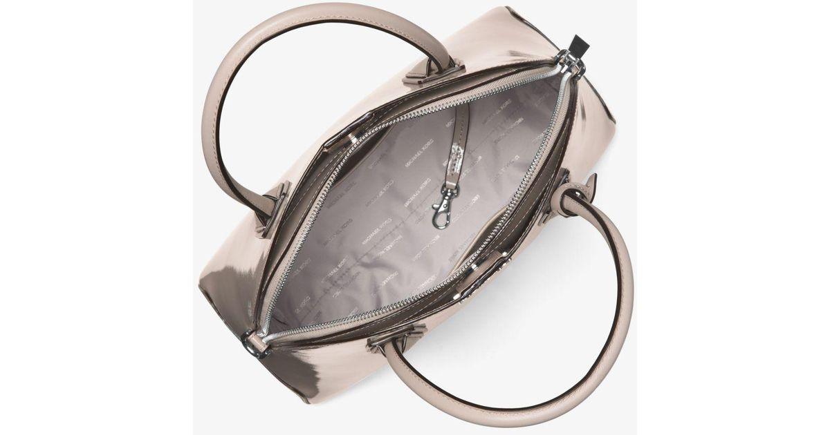 952ad26e5c4b 123456789 fb5b7 5c3e9; clearance lyst michael kors mercer large patent  leather dome satchel 8e3f2 1399a