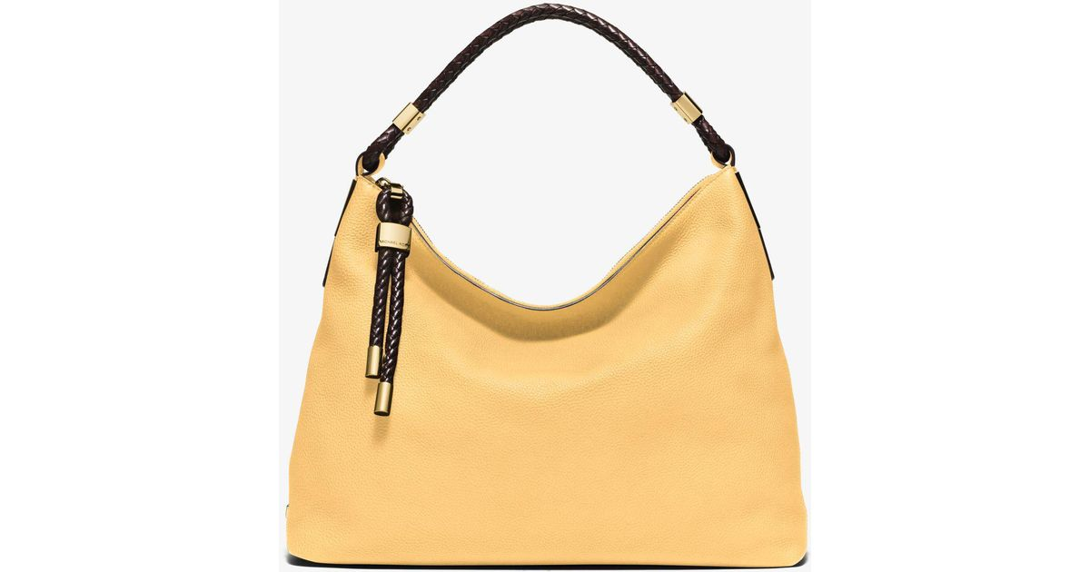 7a0ac2eca729 Lyst - Michael Kors Skorpios Large Pebbled Leather Shoulder Bag in Yellow