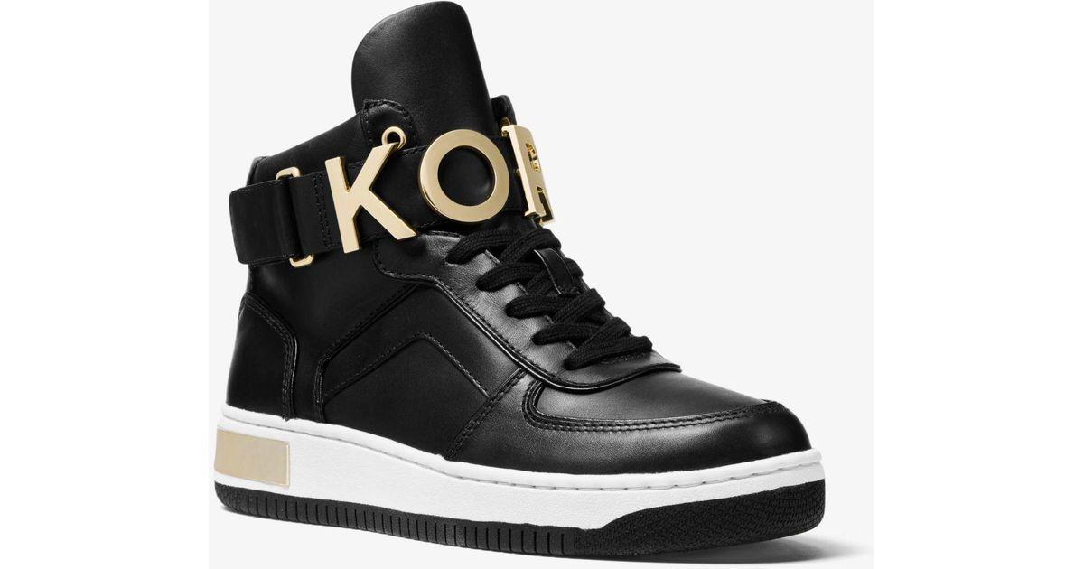 d706686ef68f2 Lyst - Michael Kors Cortlandt Embellished Leather High-top Sneaker in Black