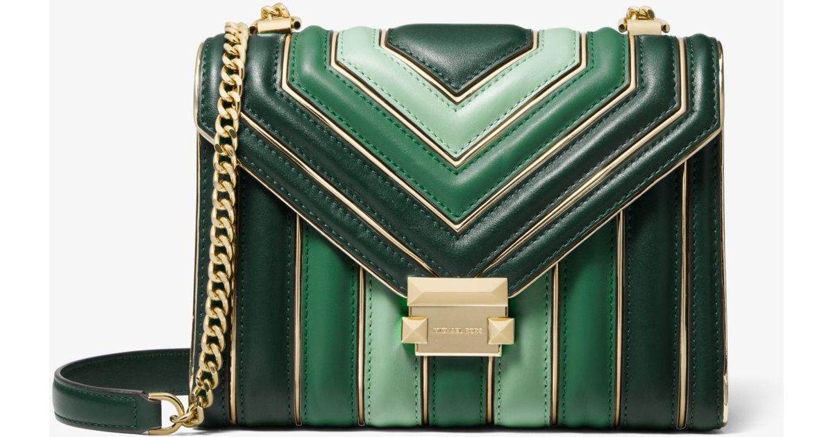 e0249cea04a1ab Michael Kors Whitney Large Quilted Tri-color Leather Convertible Shoulder  Bag in Green - Lyst