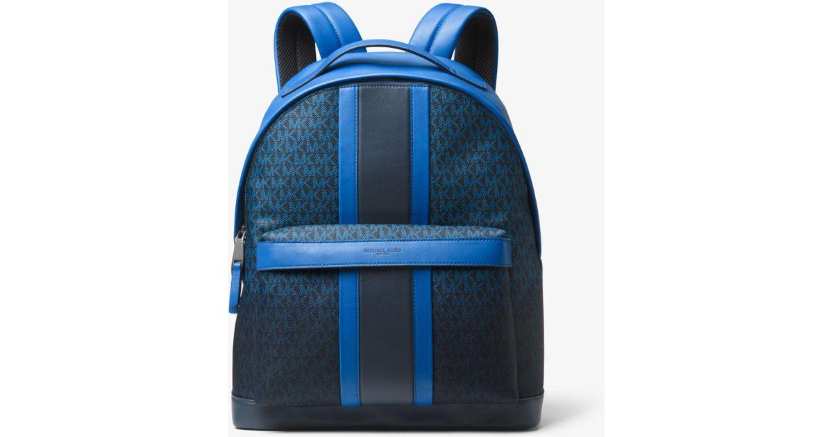 cfd7a078a510 Lyst - Michael Kors Odin Logo Stripe Backpack in Blue for Men