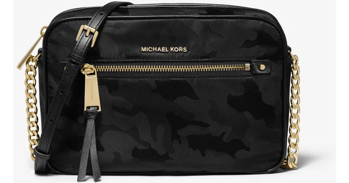 43d8e22dcf7779 MICHAEL Michael Kors Polly Large Camouflage Nylon Jacquard Crossbody Bag in  Black - Lyst