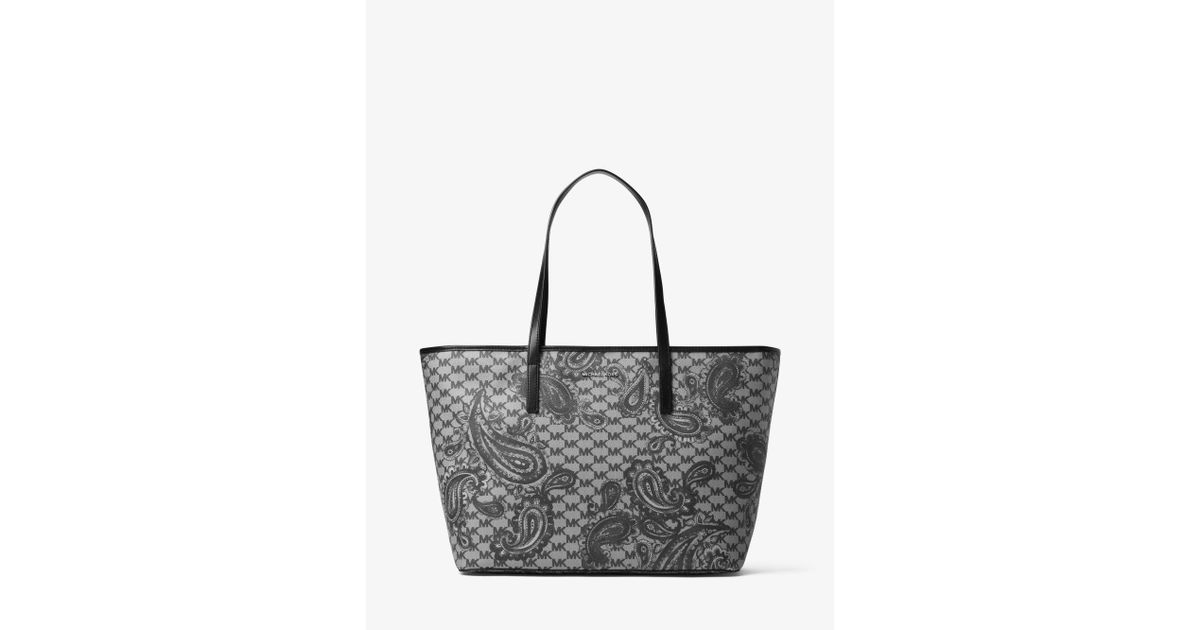 4d3d35a8dd0a92 Michael Kors Emry Large Heritage Paisley Tote in Black - Lyst