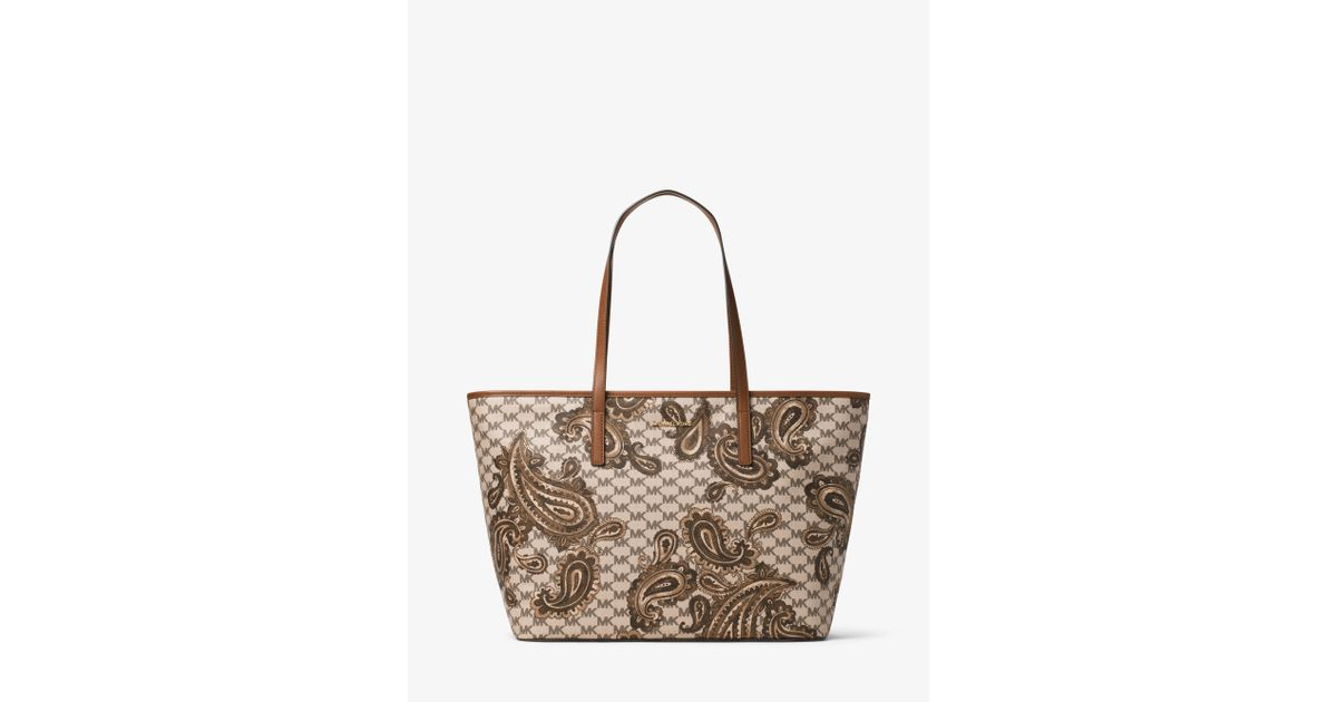 7c3941745eab Michael Kors Emry Large Heritage Paisley Tote in Natural - Lyst