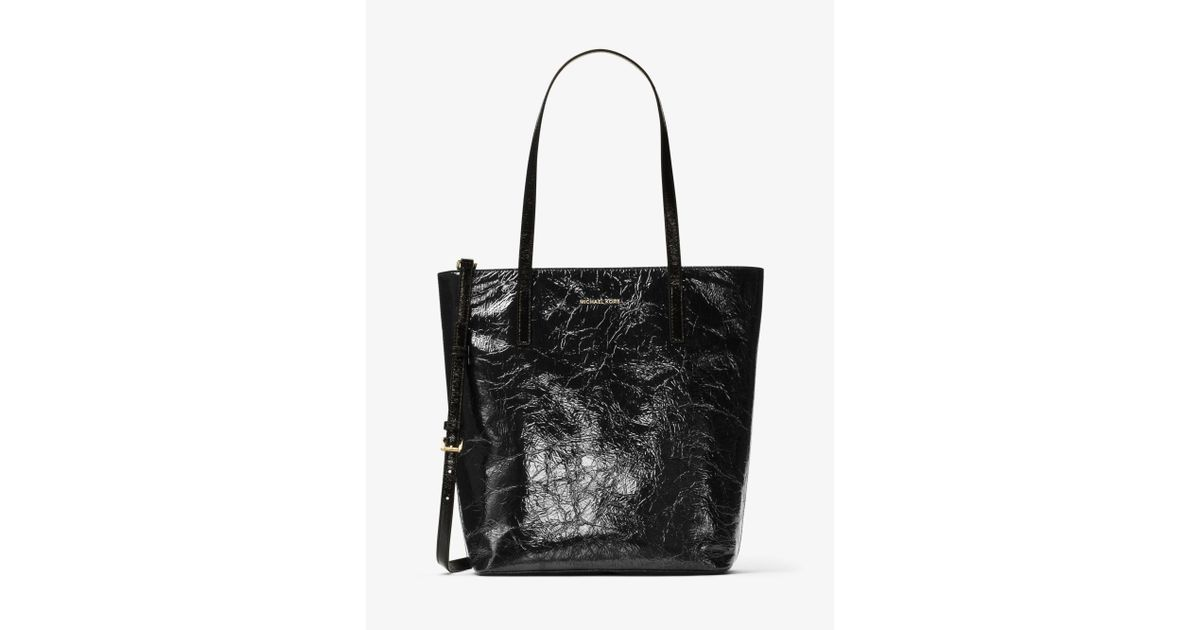 ff49ccf22a94 Michael Kors Emry Large Crinkled-leather Tote in Black - Lyst