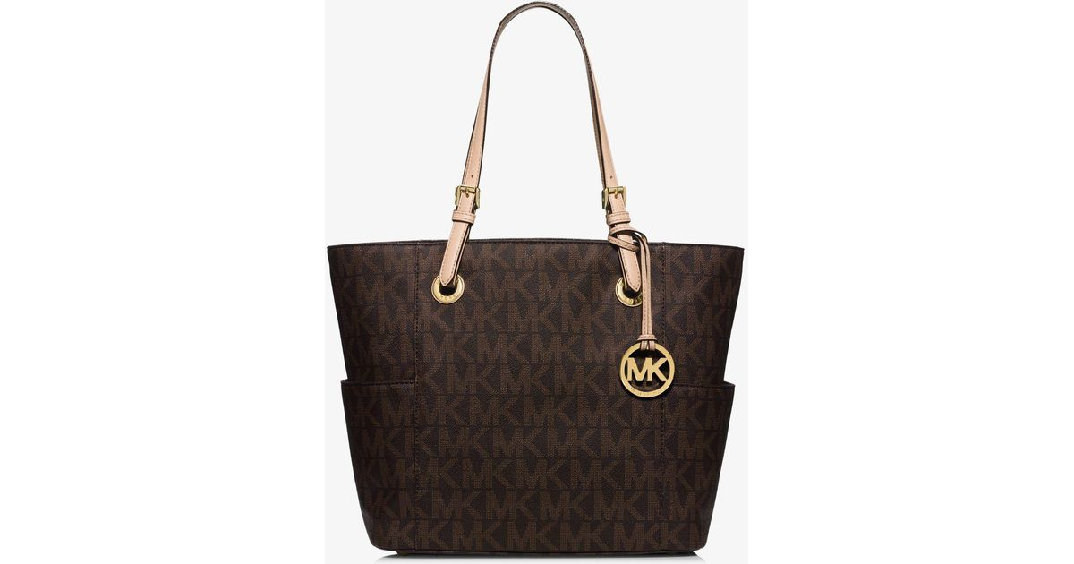 Lyst - Michael Kors Jet Set Logo Tote in Brown 7ad0d55738ecf