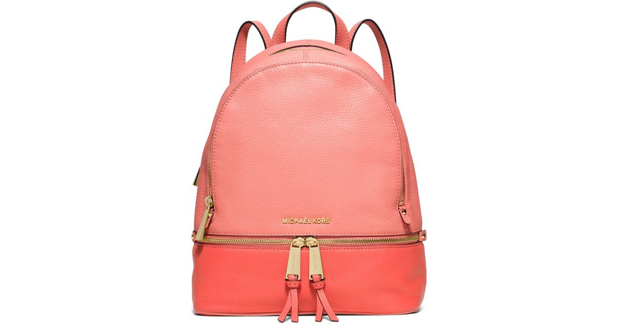 238392dfdeb8 Michael Kors Rhea Medium Color-block Leather Backpack in Pink - Lyst