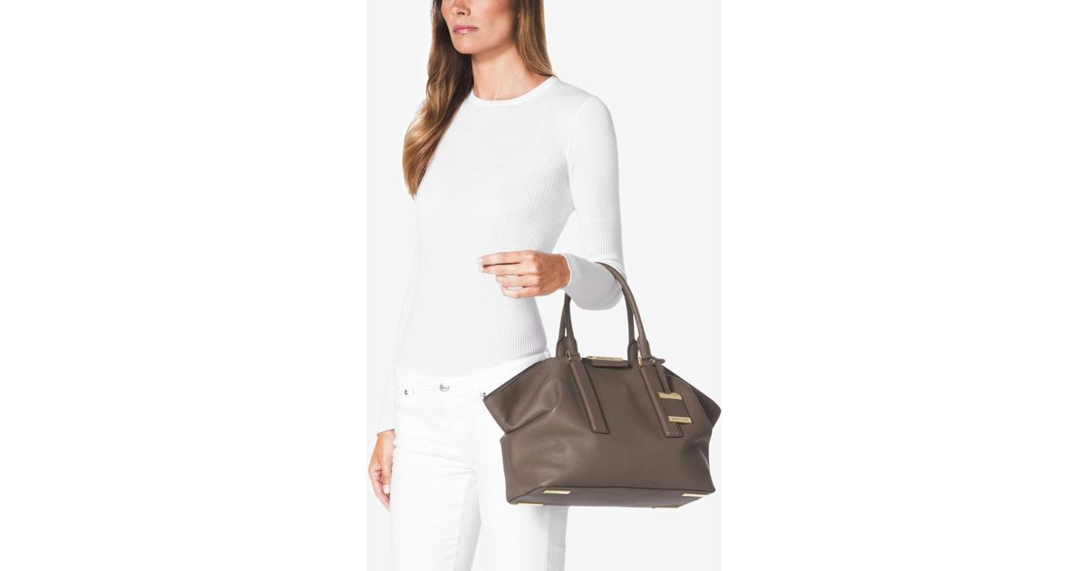 af073baa6ac671 Michael Kors Lexi Large Satchel in Gray - Lyst