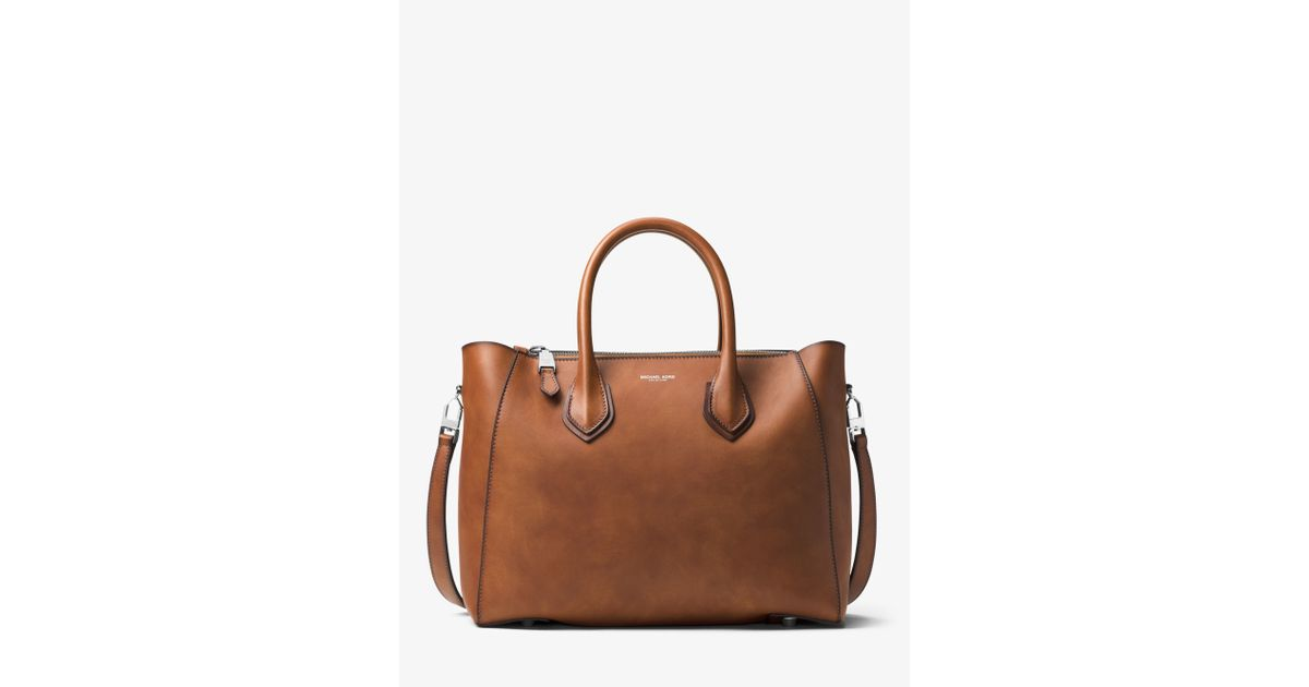 2f0750a20c7a Michael Kors Helena Large French Calf Leather Satchel in Brown - Lyst