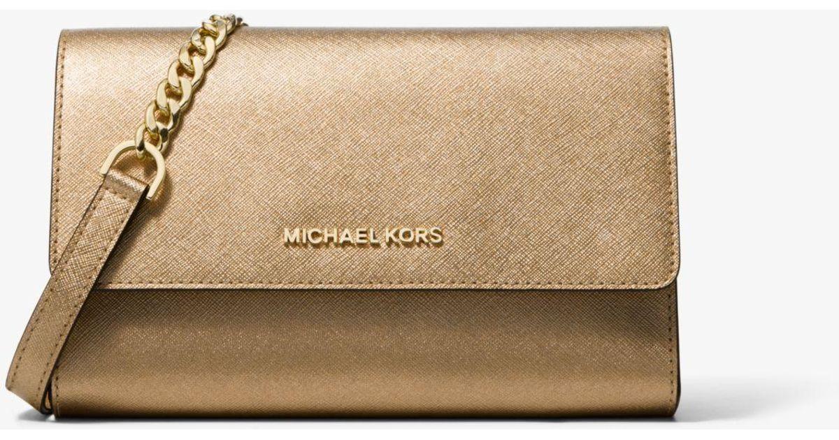 77ee0a551 Michael Kors Metallic Saffiano Leather 3-in-1 Crossbody in Metallic - Lyst