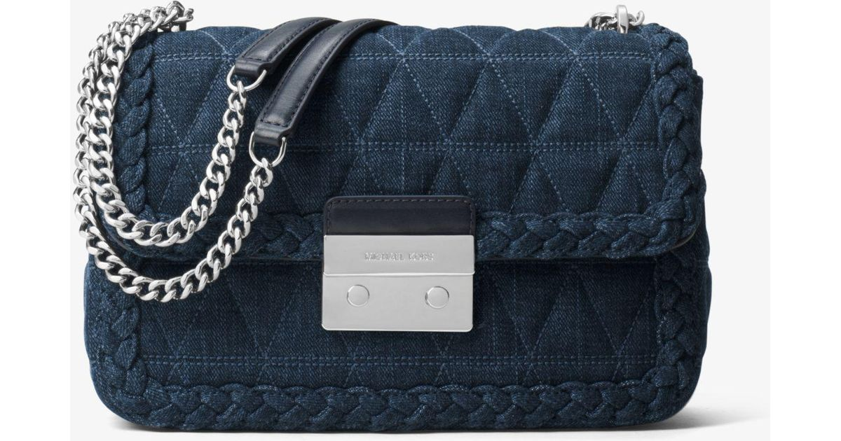 e44eeab1c475 Lyst - Michael Kors Sloan Large Quilted-denim Shoulder Bag in Blue